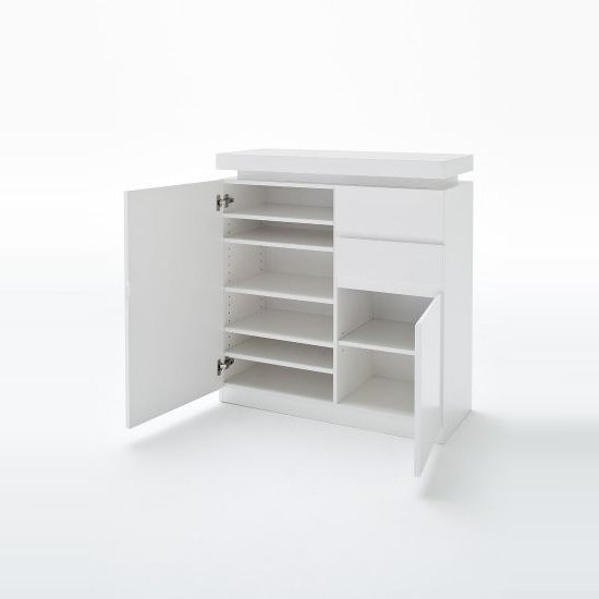 Odessa Shoe Cabinet In White Gloss 2 Doors 2 Drawers With LEDs_2