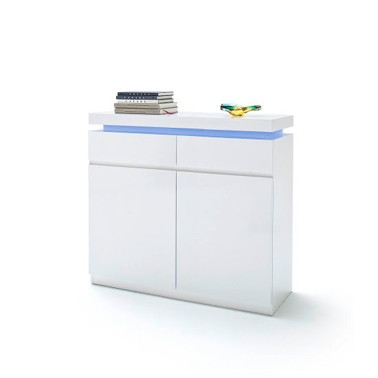 Odessa Shoe Cabinet In White High Gloss With LED Lighting_1