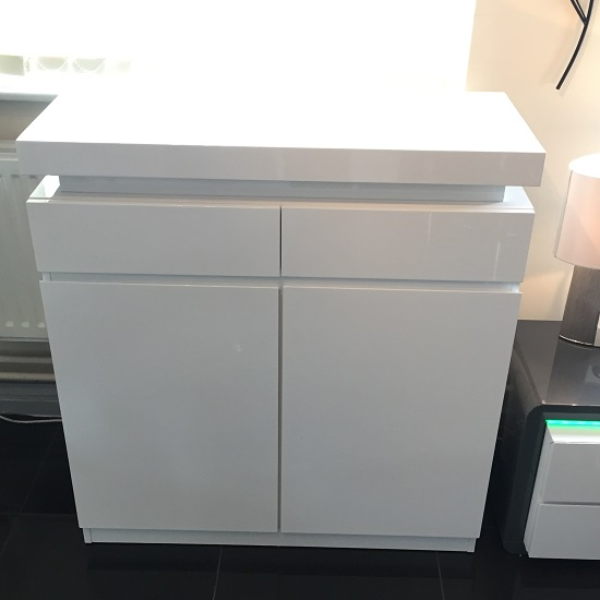 Odessa Shoe Cabinet In White High Gloss With Led Lighting