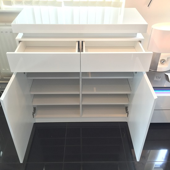 Odessa Shoe Cabinet In White High Gloss With LED Lighting_2