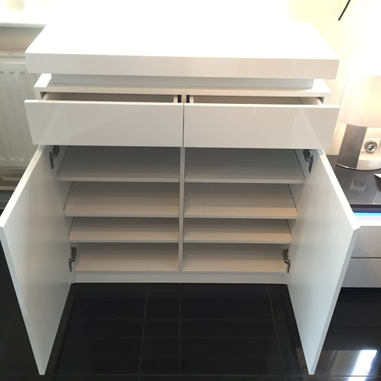 Odessa Shoe Cabinet In White High Gloss With LED Lighting_3