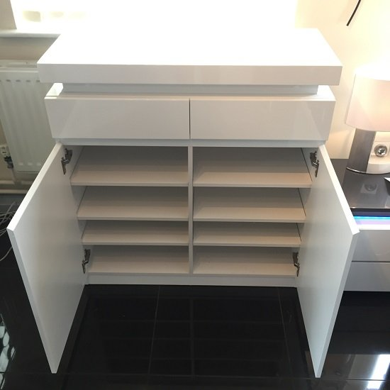 Odessa Shoe Cabinet In White High Gloss With LED Lighting_4