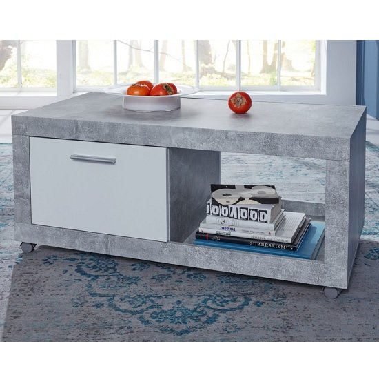 Odile TV Stand In Stone Cement Grey And White With 1 Door