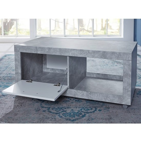 Odile TV Stand In Stone Cement Grey And White With 1 Door_2