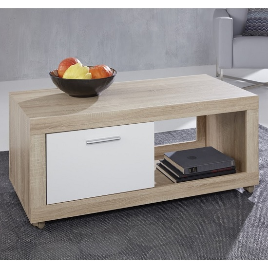 Odile Wooden TV Stand In Sägerau Oak And White With 1 Door_1