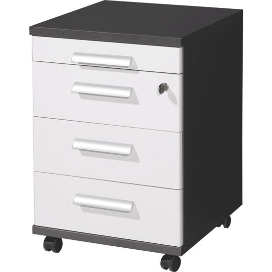 Linea Office Cabinet In Anthracite And White