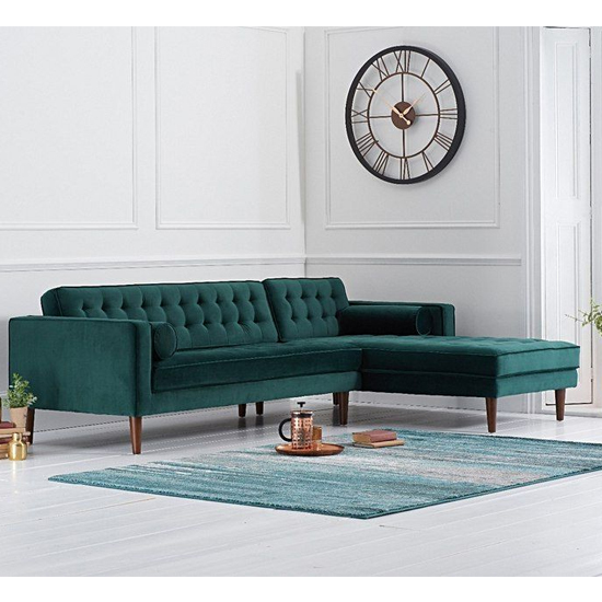 Ogma Velvet Right Facing Chaise Sofa Bed In Green