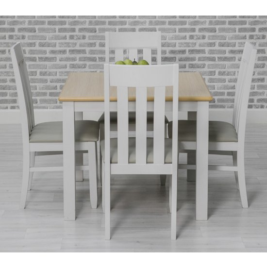 Ohio Square Dining Set With 4 Padded Slat Back Chairs