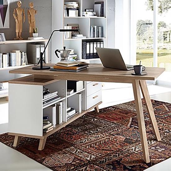 View Ohio wooden storage computer desk in white and sanremo oak