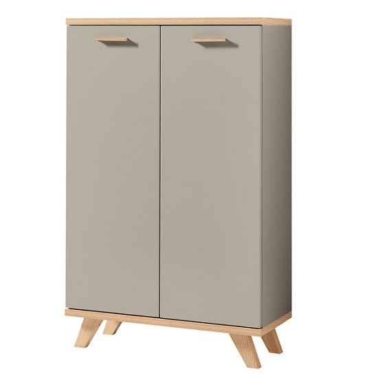 Bowen Wooden Storage Cabinet In Stone Grey And Navarra Oak