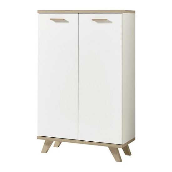Ohio Wooden Storage Cabinet In White And Sanremo Oak