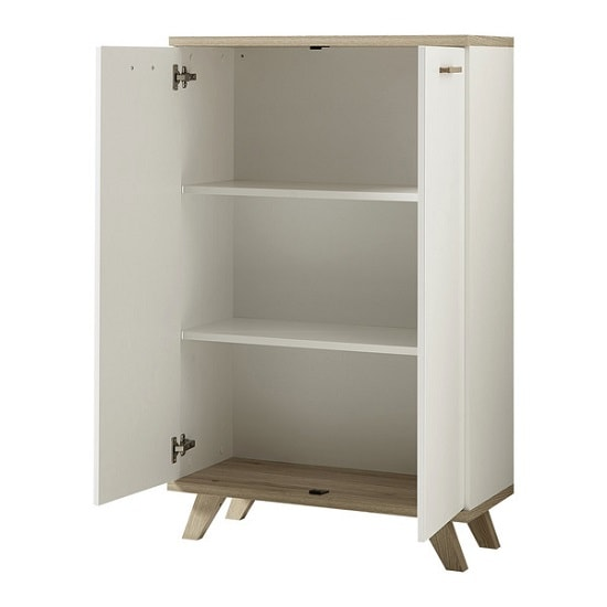 Ohio Wooden Storage Cabinet In White And Sanremo Oak_2