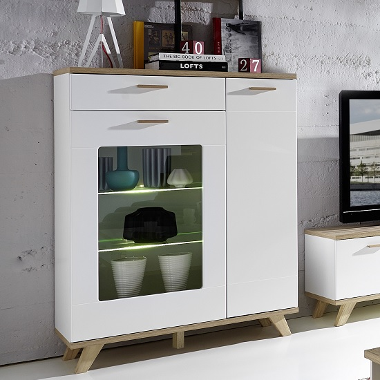 Ohio Glass Display Cabinet Wide In Sanremo Oak White With LED_1