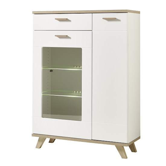 Ohio Glass Display Cabinet Wide In Sanremo Oak White With LED_3