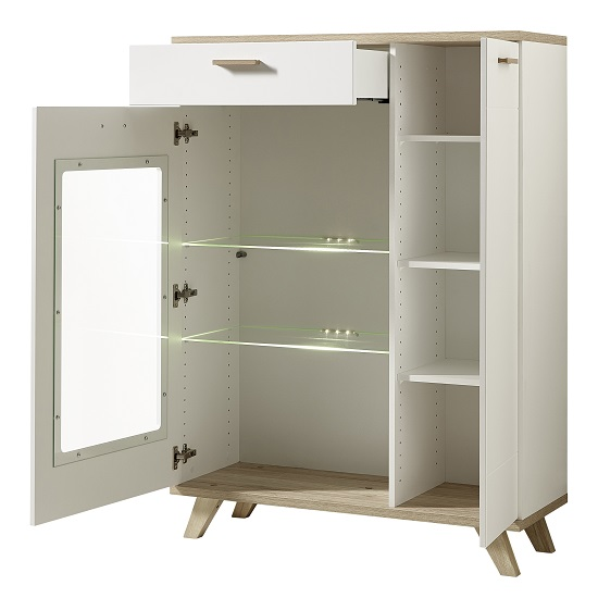 Ohio Glass Display Cabinet Wide In Sanremo Oak White With LED_2