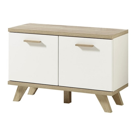 Ohio Wooden Shoe Bench In White And Sanremo Oak With 2 Doors_1