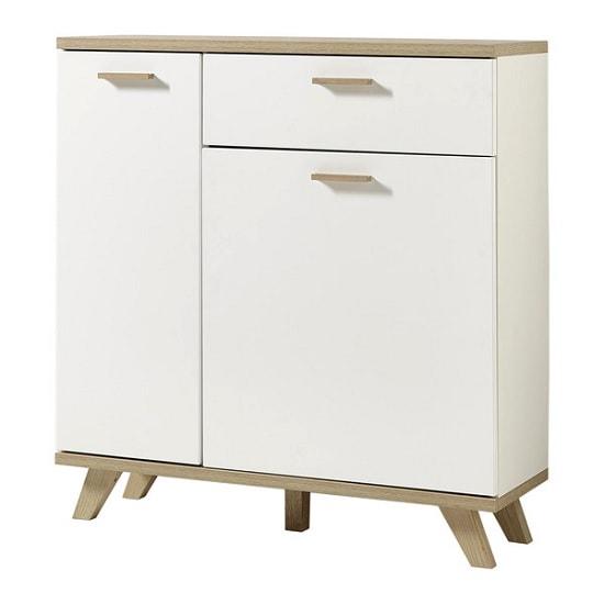 Ohio Wooden Shoe Storage Cabinet In White And Sanremo Oak