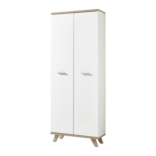 Ohio Wooden Wardrobe In White And Sanremo Oak With 2 Doors