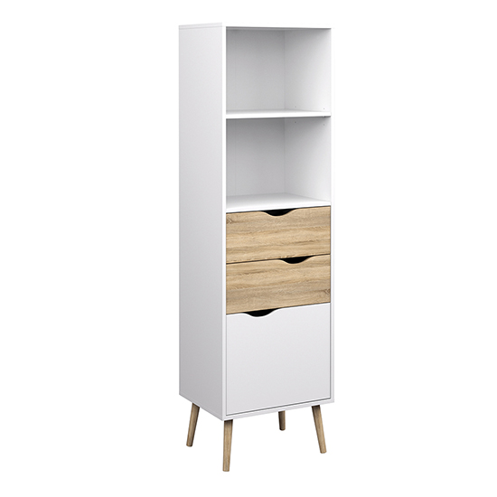 View Oklo 1 door 2 drawers bookcase in white and oak