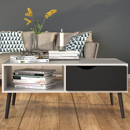 View Oklo 1 drawer storage coffee table in white and matt black