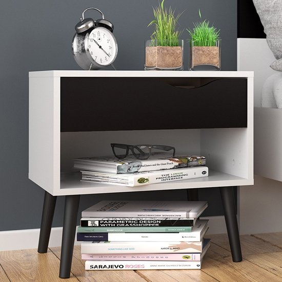 Oklo Wooden 1 Drawer Bedside Cabinet In White And Matt Black