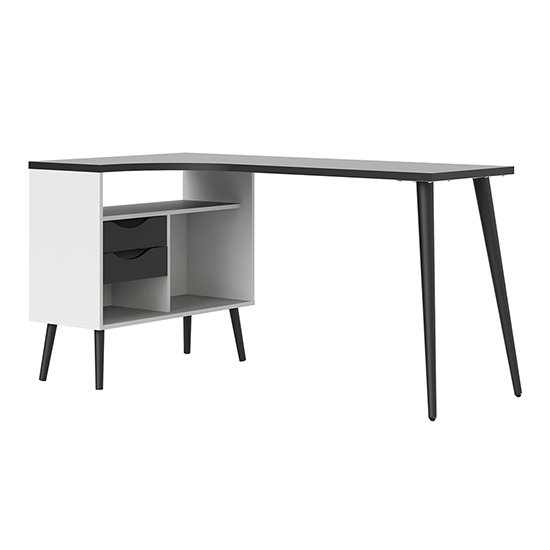 Oklo 2 Drawers Computer Desk In White And Matt Black