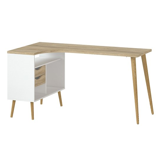 View Oklo 2 drawers computer desk in white and oak