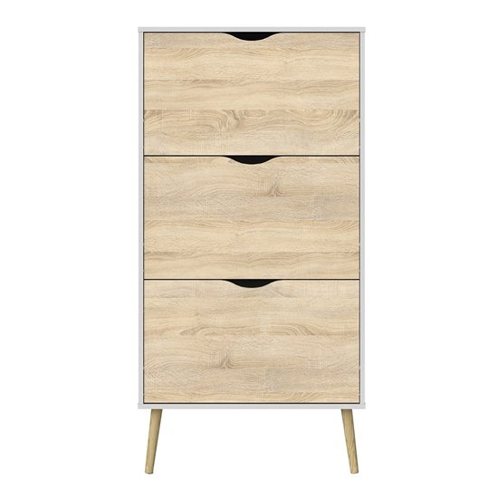 Oklo Wooden 3 Drawers Shoe Storage Cabinet In White And Oak_2