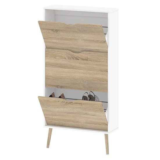 Oklo Wooden 3 Drawers Shoe Storage Cabinet In White And Oak_4