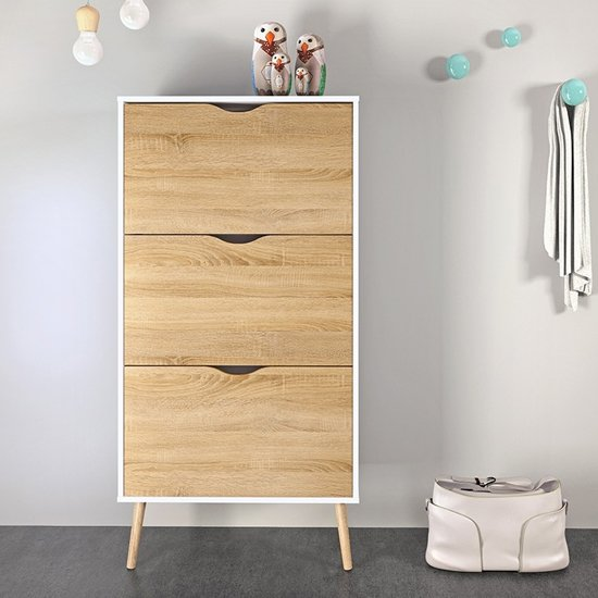 Oklo Wooden 3 Drawers Shoe Storage Cabinet In White And Oak_1