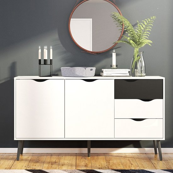 Oklo Large 2 Doors 3 Drawers Sideboard In White And Matt Black
