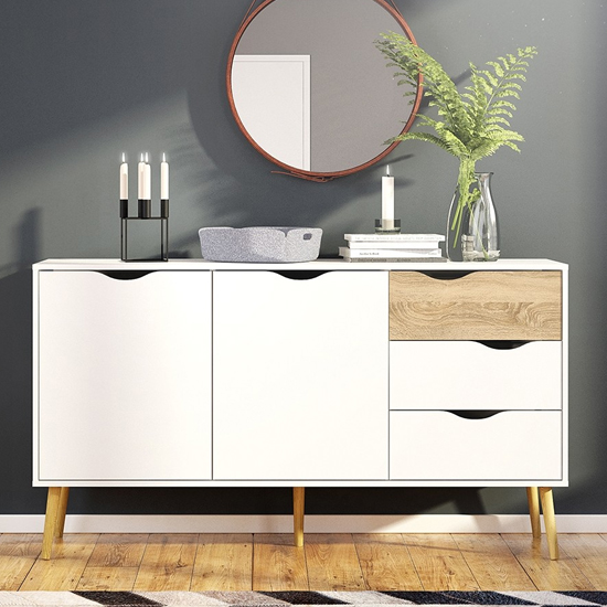 Oklo Large 2 Doors 3 Drawers Sideboard In White And Oak