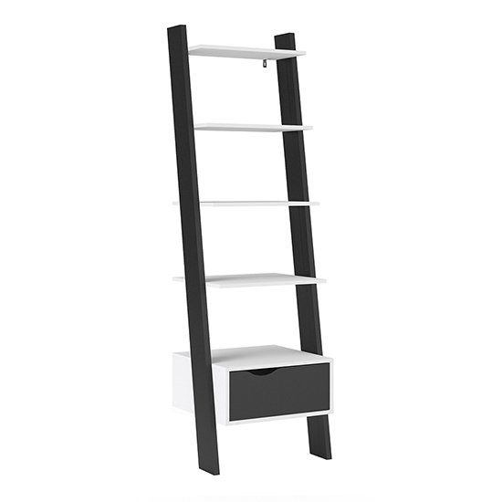 Oklo Leaning 1 Drawer Bookcase In White And Matt Black