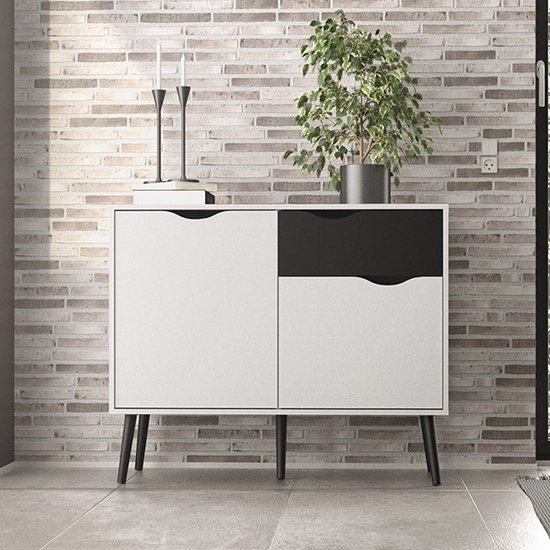 Oklo Small 2 Doors 1 Drawer Sideboard In White And Matt Black