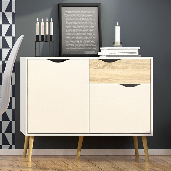 Oklo Small 2 Doors 1 Drawer Sideboard In White And Oak
