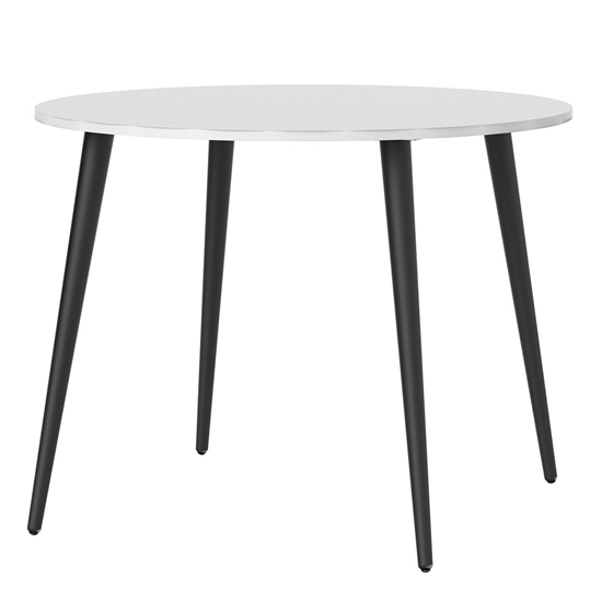 Oklo Round Wooden Dining Table In White And Matt Black