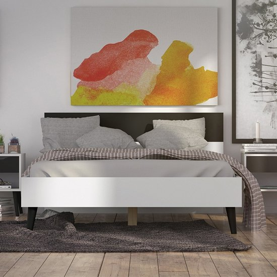 Oklo Wooden Double Bed In White And Matt Black