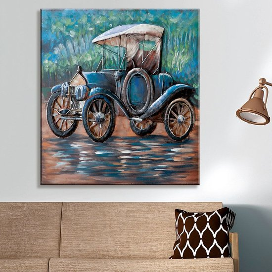 View Oldtimer picture metal wall art in blue