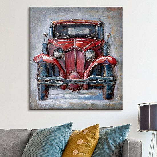 Oldtimer Picture Metal Wall Art In Red