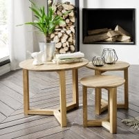 Olena Wooden Set Of 3 Coffee Tables In Knotty Oak
