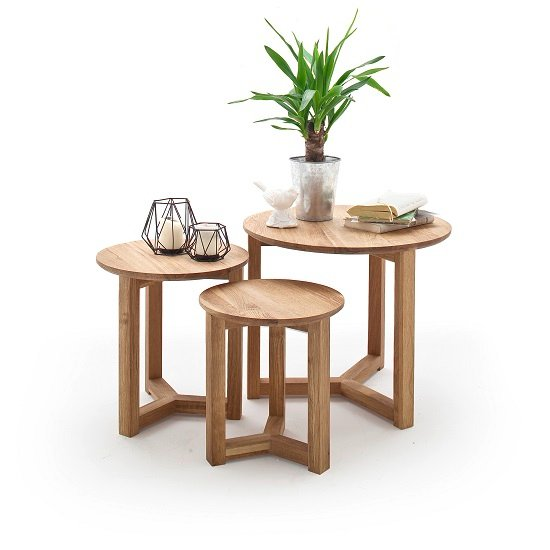Olena Wooden Set Of 3 Coffee Tables In Knotty Oak_2