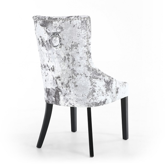 Olenna Accent Chair In Silver Crushed Velvet With Wooden Legs_2