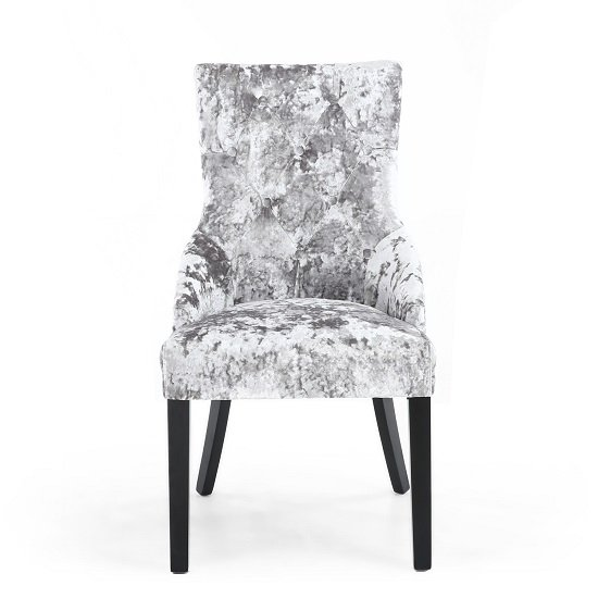 Olenna Accent Chair In Silver Crushed Velvet With Wooden Legs_3