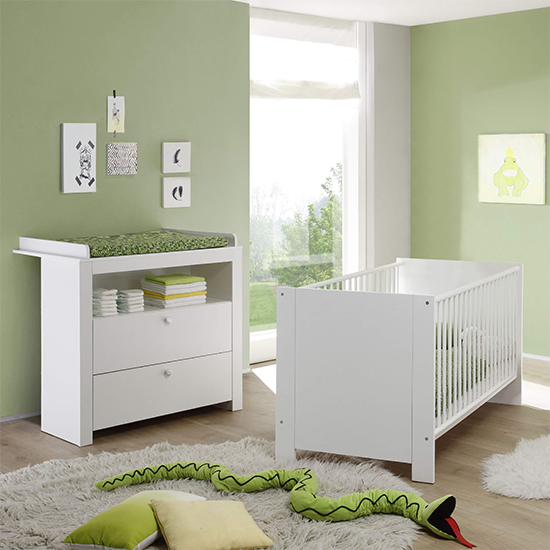 Oley Baby Room Wooden Furniture Set 1 In White