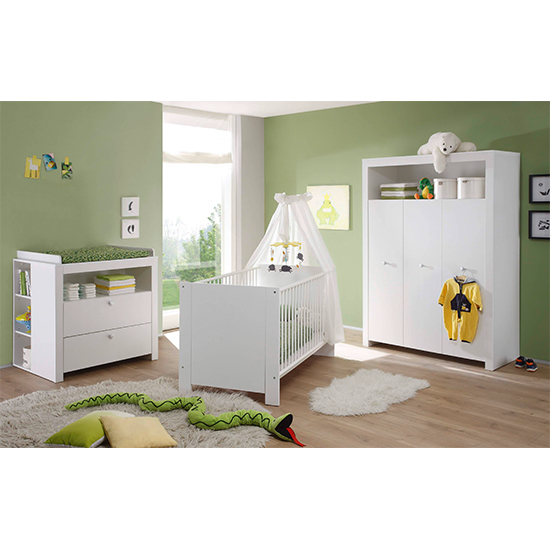 Oley Baby Room Wooden Furniture Set 3 In White