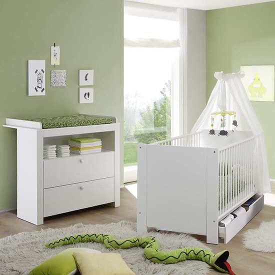 Oley Baby Room Wooden Furniture Set 4 In White