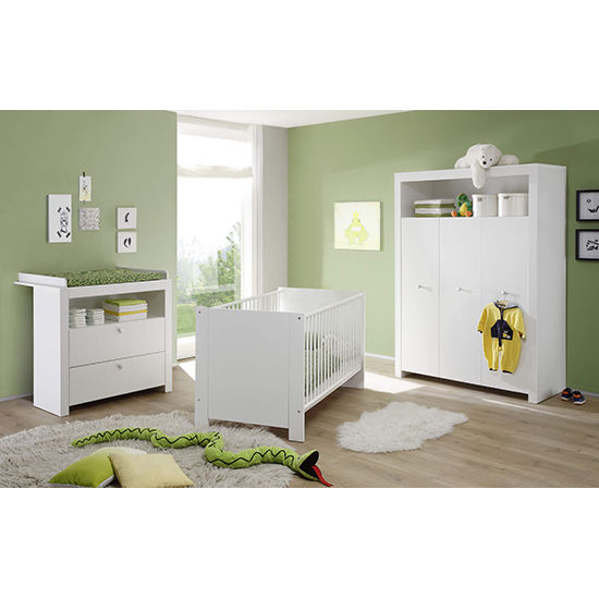 Oley Baby Room Wooden Furniture Set In White