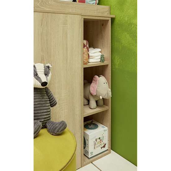 Oley Wooden Shelving Unit With 2 Shelves In Sagerau Light Oak