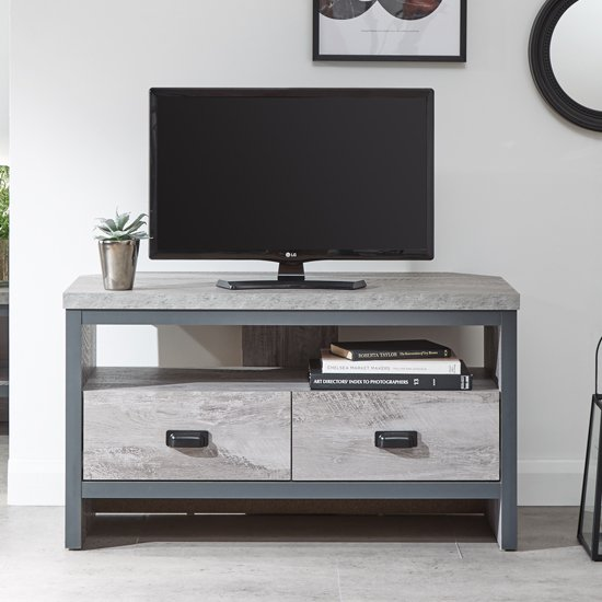 Olivares Corner Wooden TV Stand In Grey With 2 Drawers