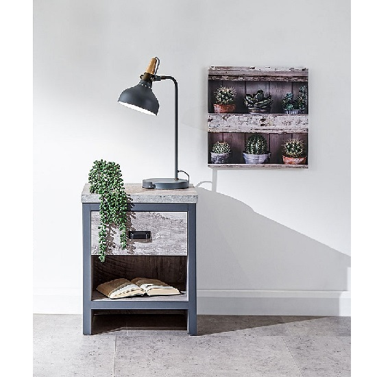 Olivares Lamp Table In Grey With One Drawer